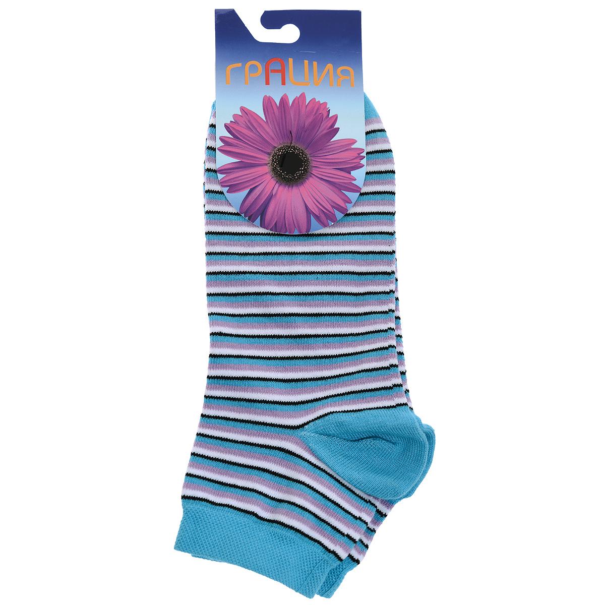 Носки женские Грация, цвет: голубой. М1088. Размер 35/37М1088Женские носки Грация, изготовленные из высококачественного сырья, идеально подойдут для вас. Комфортная резинка не сдавливает ногу.Носки всесезонные с укороченным паголенком.
