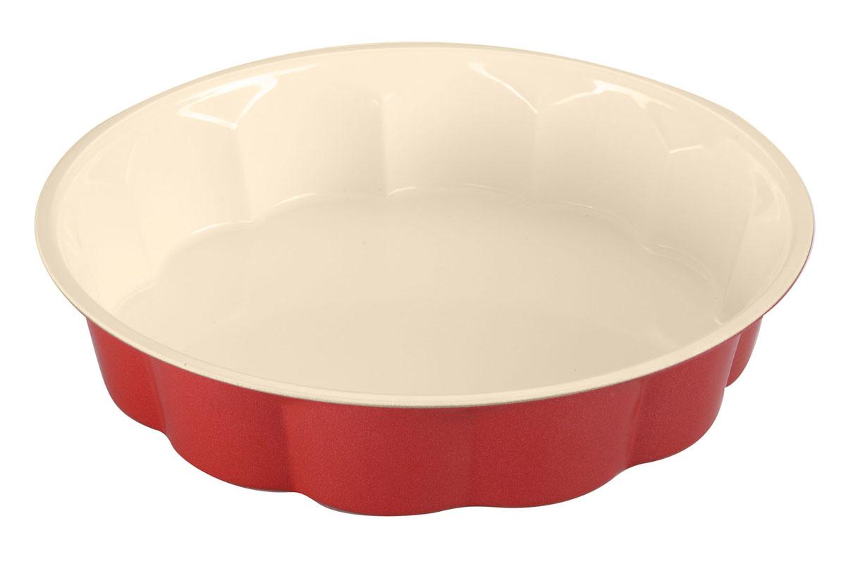 Форма для выпечки Bekker с антипригарным покрытием, диаметр 28 см. BK-3966BK-3966Форма для выпечки Bekker изготовлена из углеродистой стали с антипригарным керамическим покрытием Pfluon, благодаря чему пища не пригорает и прилипает к стенкам посуды. Кроме того, готовить можно с добавлением минимального количества масла и жиров. Керамическое покрытие также обеспечивает легкость мытья. Внешнее жаростойкое покрытие красного цвета делает форму оригинальным кухонным аксессуаром. Внутренние боковые стенки рельефные, что придаст вашей выпечке особую аппетитную форму. Подходит для использования в духовом шкафу. Не подходит для СВЧ-печей. Рекомендуется ручная чистка. Используйте только деревянные и пластиковые лопатки. Характеристики:Материал: углеродистая сталь. Цвет: красный, бежевый. Диаметр формы: 28 см. Высота стенки: 6 см. Толщина стенки: 0,4 мм. Производитель: Германия. Изготовитель: Китай. Артикул: BK-3966.