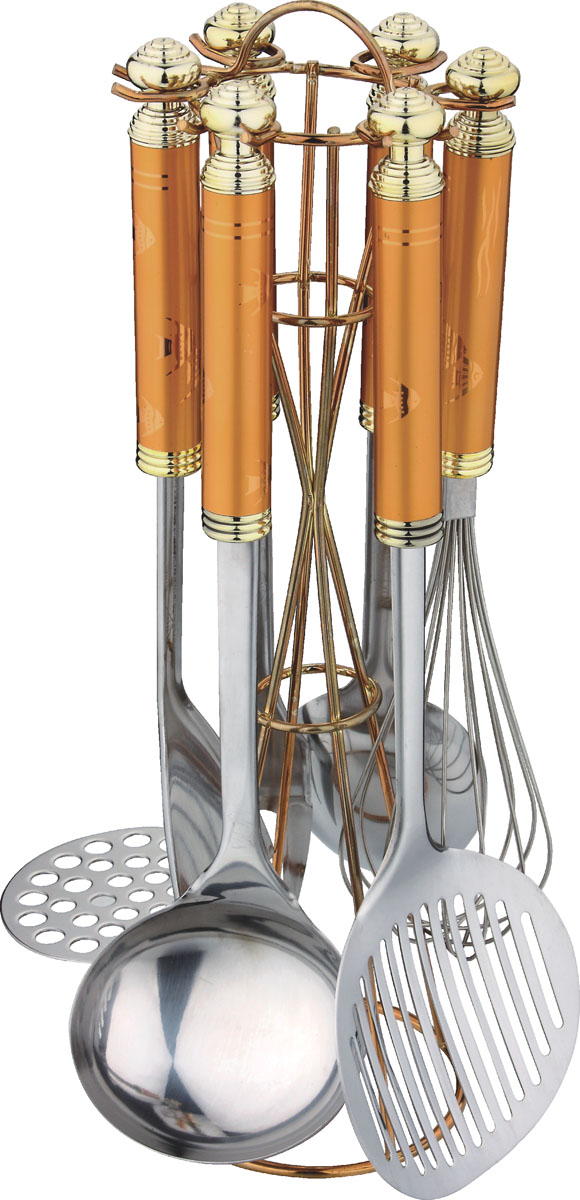 Набор кухонный Bekker BK-401, 7 предметовBK-401Набор кухонных аксессуаров Bekker станет незаменимым помощником на кухне, поскольку в набор входят самые необходимые кухонные аксессуары: картофелемялка, ложка, половник, вилка, шумовка, венчик. Все предметы набора хранятся в элегантной настольной подставке. Весь набор выполнен из нержавеющей стали и пластика. Сталь с таким сплавом широко используется во всем мире. Изделия из нержавеющей стали исключительно прочны, гигиеничны, не подвержены коррозии и химически устойчивы по отношению к органическим кислотам, солям и щелочам.Такой набор понравится любой хозяйке и будет отличным помощником на кухне. Характеристики:Материал: нержавеющая сталь, пластик. Размер подставки: 35 см х 11 см х 11 см. Длина картофелемялки: 29 см. Длина ложки: 32 см. Длина половника: 31 см. Длина шумовки: 34 см. Длина вилки для мяса: 33 см. Длина венчика: 29 см. Размер упаковки: 38 см х 13 см х 13 см. Артикул: BK-401.