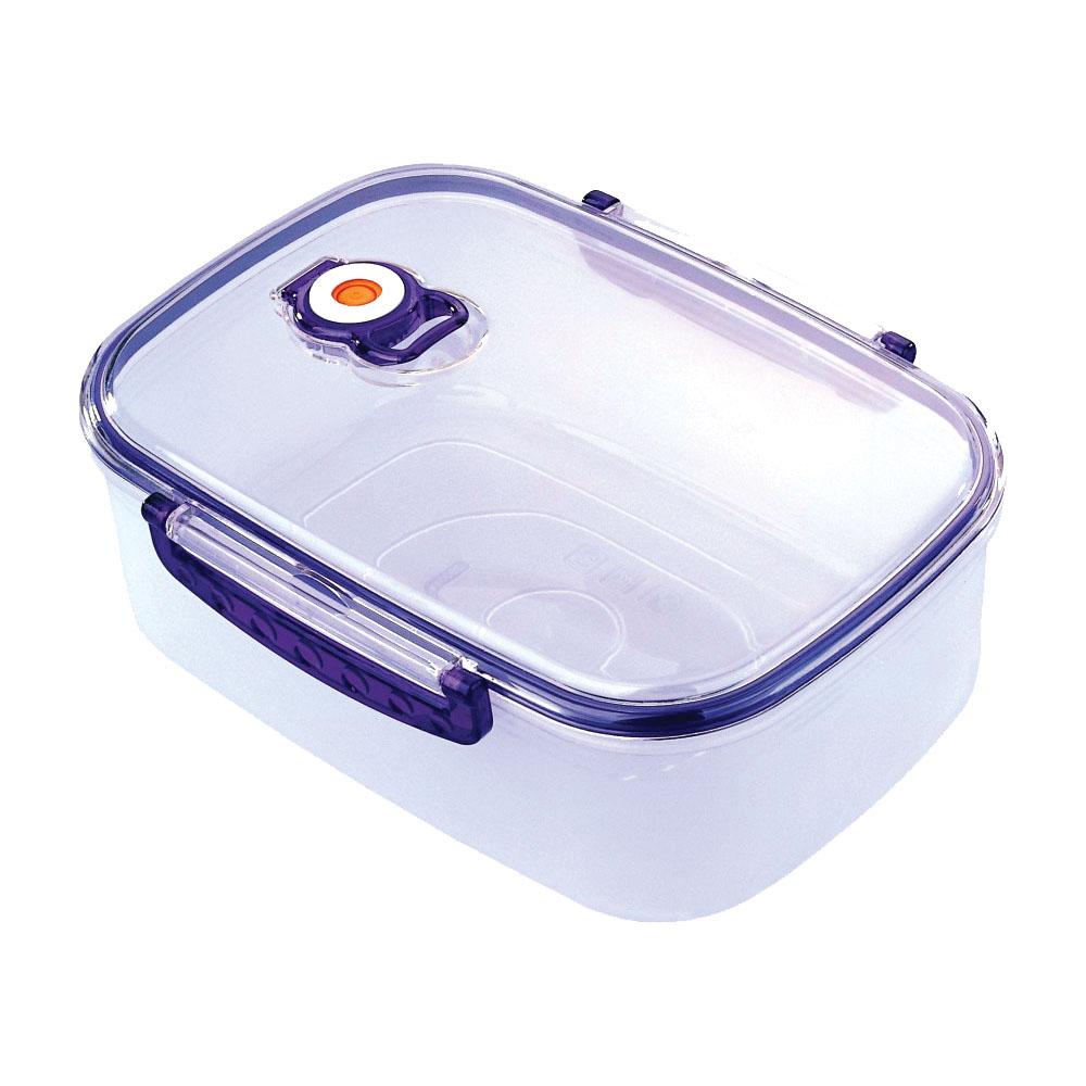 Контейнер вакуумный для пищевых продуктов Bekker, цвет: синий, 2,5 лBK-5105Контейнер Bekker прямоугольной формы предназначен для хранения пищевых продуктов. Контейнер изготовлен из пищевого пластика. Крышка оснащена удобными ручками, с помощью которых изделие плотно закрывается. Благодаря клапану внутри контейнера создается вакуум, не пропускающий лишний воздух. Именно поэтому продукты в вакуумных контейнерах дольше сохраняют свежесть. Продукты в вакуумном контейнере можно ставить в морозилку или разогревать в микроволновой печи, не снимая при этом крышку контейнера. Контейнер выдерживает температуру от -20°С до +120°С. Контейнер Bekker универсален, вы сможете хранить, замораживать, разогревать самые разнообразные продукты.