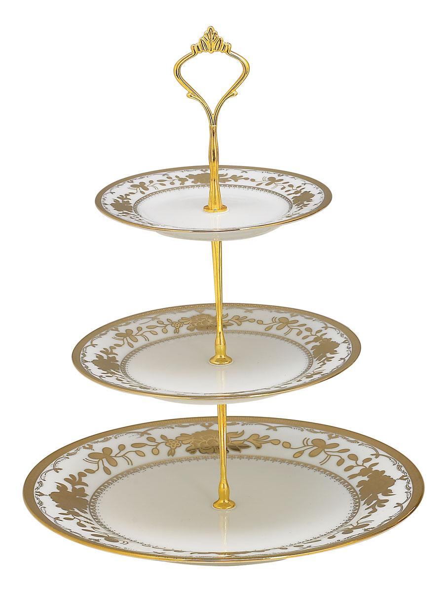 Ваза для фруктов Bekker BK-7503, 3 ярусаBK-7503Элегантная ваза Bekker, выполненная из фарфора, сочетает в себе изысканный дизайн с максимальной функциональностью. Ваза предназначена для красивой сервировки фруктов. Ярусы вазы оформлены красивым золотым узором. Держатель вазы выполнен из металла.Ваза для фруктов Bekker украсит сервировку вашего стола и подчеркнет прекрасный вкус хозяина, а также станет отличным подарком. Характеристики:Материал: фарфор, металл. Диаметр нижнего яруса: 27 см. Диаметр среднего яруса:19 см. Диаметр верхнего яруса:15 см. Размер упаковки: 27 см х 27 см х 4 см. Артикул:BK-7503.