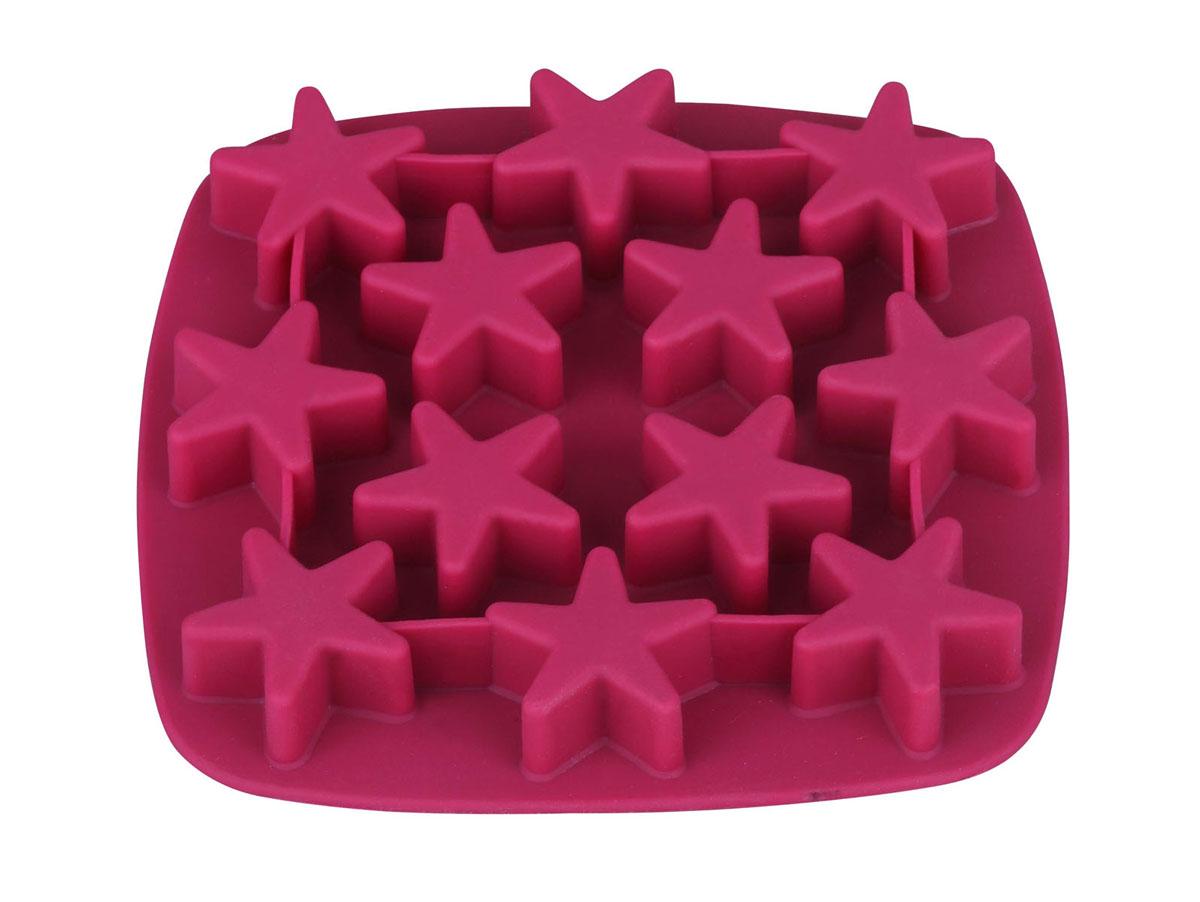 """Форма для изготовления льда Bekker """"Звездочки"""" выполнена из силикона вишневого цвета, имеет 12 ячеек в форме звезд.   Силиконовые формы для выпечки и заморозки имеют много преимуществ по сравнению с традиционными металлическими формами и противнями. Они идеально подходят для использования в микроволновых, газовых и электрических печах при температурах до +230°С. В случае заморозки до -40°С. Можно мыть в посудомоечной машине.   За счет высокой теплопроводности силикона изделия выпекаются заметно быстрее. Благодаря гибкости и антиприлипающим свойствам силикона, готовое изделие легко извлекается из формы. Для этого достаточно отогнуть края и вывернуть форму (выпечке дайте немного остыть, а замороженный продукт лучше вынимать сразу).   Силикон абсолютно безвреден для здоровья, не впитывает запахи, не оставляет пятен, легко моется.   Форма для льда Bekker """"Звездочки"""" - практичный и необходимый подарок любой хозяйке! Характеристики:    Материал: силикон.  Цвет: вишневый.  Размер формы: 17 см х 17 см х 2 см.  Размер 1 ячейки: 4 см х 4 см х 2 см.  Размер упаковки: 17 см х 17 см х 2 см.  Производитель: Германия.  Изготовитель: Китай.  Артикул: BK-9513.   Как выбрать форму для выпечки – статья на OZON Гид."""