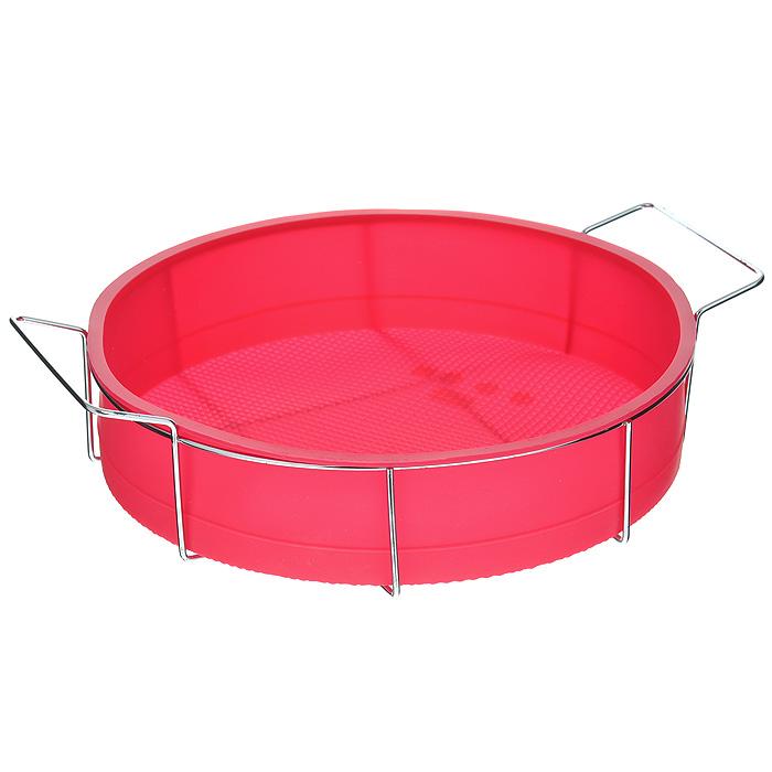 Форма для выпечки Marmiton Круг, силиконовая, на подставке, цвет: красный, диаметр 26 смLG16047Форма для выпечки Marmiton Круг, выполненнаяиз силикона,предназначена для приготовления выпечки,пудинга, запеканок ижеле.Изделие не взаимодействует с продуктами питанияи не впитываетзапахи, как при нагревании, так и при заморозке.Готовую выпечкуили пудинг извлекать из формы легко и просто. С такой формой вы всегда сможете порадоватьсвоих близкихоригинальным изделием.Материал устойчив к фруктовым кислотам,может бытьиспользован в духовках и микроволновых печах(выдерживаеттемпературу от 240°C до - 40°C). Можно мыть исушить впосудомоечной машине.В комплекте металлическая подставка. Диаметр формы: 26 см.Высота формы: 6 см. Размер подставки: 31 см х 25 см х 7,5 см.