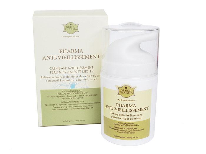 Greenpharma Крем против морщин, для нормальной и смешанной кожи, 50 мл7535Крем Greenpharma предназначен для борьбы с основными причинами старения кожи (нарушение функционирования клеток, обезвоживание), вызывающими появление морщин. Основанный на концентрированных реструктурирующих растительных экстрактах (манжетка, плющ, хвощ), крем стимулирует синтез новых волокон коллагена и эластина, необходимых для поддержания нормальной структуры тканей кожи. Обогащенный увлажняющими компонентами, обеспечивает увлажнение и комфорт, способствует сглаживанию глубоких и поверхностных морщин, разглаживает, смягчает и защищает кожу. Идеальная основа для макияжа. Этот компенсирующий крем специально разработан для эффективного увлажнения и комфорта нормальной и смешанной кожи.Характеристики:Объем: 50 мл. Артикул: 7535. Производитель: Россия. Товар сертифицирован.Состав: Water (Aqua). Propylene Glycol. Cyclopentasiloxane. Prunus Amygdalus Dulcis (Sweet Almond) Oil, Mate Leaves Extract, Hydrogenated Polydecene, Stearic Acid, Ethylhexyl Methoxycinnamate, Passion Flower, Alchemilla Vulgaris Extract, Hedera Helix (Ivy) Leaf/Stem Extract, Tocopheryl Acetate, Pharmalactine, Glyceryl Stearate, Quillaja Decoction (Panama Bark), Peg-100 Stearate, Rosemary Oil, Echinacea Angustifolia Leaf Extract, Equisetum Arvense Extract, Dimethiconol, Sweet Orange Oil, Cholesterol/Lanosterol Esters, Tyrosilane, Squalane, Wheat Protein Complex, Tromethamine, Bancoulier Oil, Cucurbita Pepo (Pumpkin) Seed Oil, Brazilian Palm Oil Complex , Fragrance (Parfum), Calendula Officinalis Extract , Dehydroacetic Acid. Essential Fatty Acids (Omega-6 And Omega-3), Labdanum Oil, Lotus Flower Extract, Sweet Orange Oil, Tyrosilane.