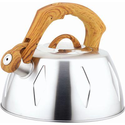 Чайник металлический Bekker De Luxe, цвет: стальной, 2,8 л. BK-S456BK-S456 стальнойКорпус чайника Bekker De Luxe выполнен из высококачественной нержавеющей стали, что обеспечивает долговечность использования. Матовая поверхность корпуса придает приятный внешний вид. Пластмассовая ручка с прорезиненным покрытием делает использование чайника очень удобным и безопасным. Чайник снабжен свистком и устройством для открывания носика. Ручка стилизована под дерево. Капсулированное дно. Рекомендована ручная чистка. Характеристики: Материал:нержавеющая сталь, пластик, резина. Объем:2,8 л. Диаметр основания чайника: 22,5 см. Толщина стенки: 0,5 мм. Высота чайника (без учета ручки):11 см. Размер упаковки: 22,5 см х 22,5 см х 20 см.