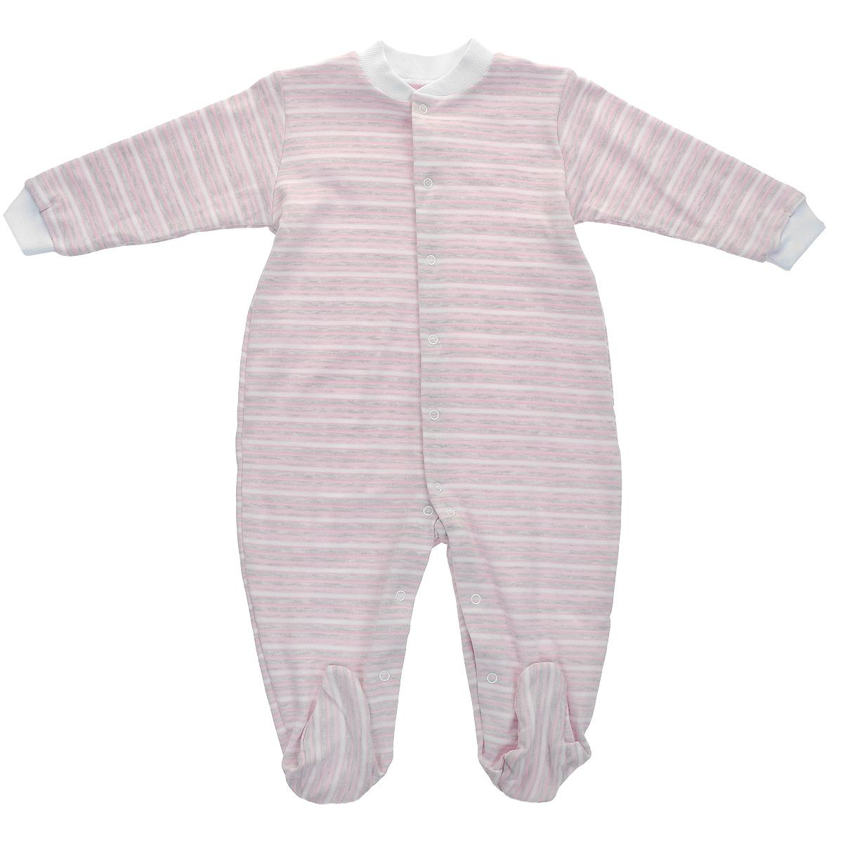 Комбинезон детский Фреш Стайл, цвет: розовый, светло-серый, белый. 39-526. Размер 80, 12 месяцев39-526Детский комбинезон Фреш Стайл станет идеальным дополнением к гардеробу вашего ребенка. Изготовленный из натурального хлопка - интерлок-пенье, он необычайно мягкий и приятный на ощупь, не раздражает нежную кожу ребенка и хорошо вентилируется. Комбинезон с длинными рукавами, закрытыми ножками и небольшим воротником-стойкой застегиваются спереди на металлические кнопки по всей длине и на ластовице, что облегчает переодевание ребенка и смену подгузника. Горловина и манжеты дополнены трикотажной эластичной резинкой. Оформлен комбинезон принтом в полоску.Оригинальное сочетание тканей и забавный рисунок делают этот предмет детской одежды оригинальным и стильным.