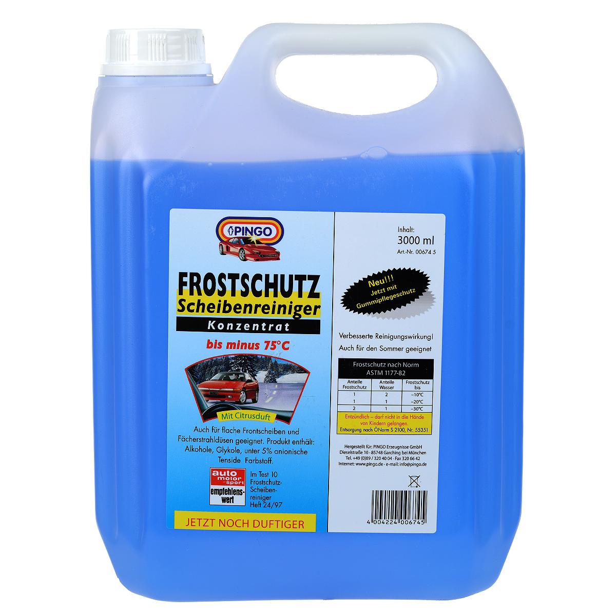Незамерзающая стеклоочистительная жидкость Pingo, до -75°С, 3 л00674-5Обеспечивает быструю очистку лобового стекла автомобиля от дорожной грязи, химических реагентов, масляной пленки и т.д. Концентрат разбавляется водой в различных пропорциях в зависимости от температуры воздуха. Готовый состав не замерзает ни на стеклах, ни в шлангах, ни в форсунках стеклоомывателя.Благодаря наличию в составе активных моющих компонентов препарат эффективно и быстро очищает стекла от загрязнений, не оставляя разводов и мутной пленки. Содержит компоненты, удаляющие известковые отложения в шлангах и форсунках стеклоомывателя. Не повреждает лакокрасочное покрытие и пластик. Не содержит метанола. Изготовлена на базе изопропилового спирта.Способ применения: залить в бачок стеклоомывателя, разбавить водой в соответствии с таблицей, указанной на главной этикетке.Меры предосторожности: Избегать проглатывания и попадания в глаза. Не давать детям. Характеристики:Размер емкости: 19 см х 9,5 см х 25 см. Размер упаковки: 19 см х 9,5 см х 25 см. Состав: вода, изопропиловый спирт, моноэтиленгликоль, поверхностно-активные вещества, краситель, ароматизатор.