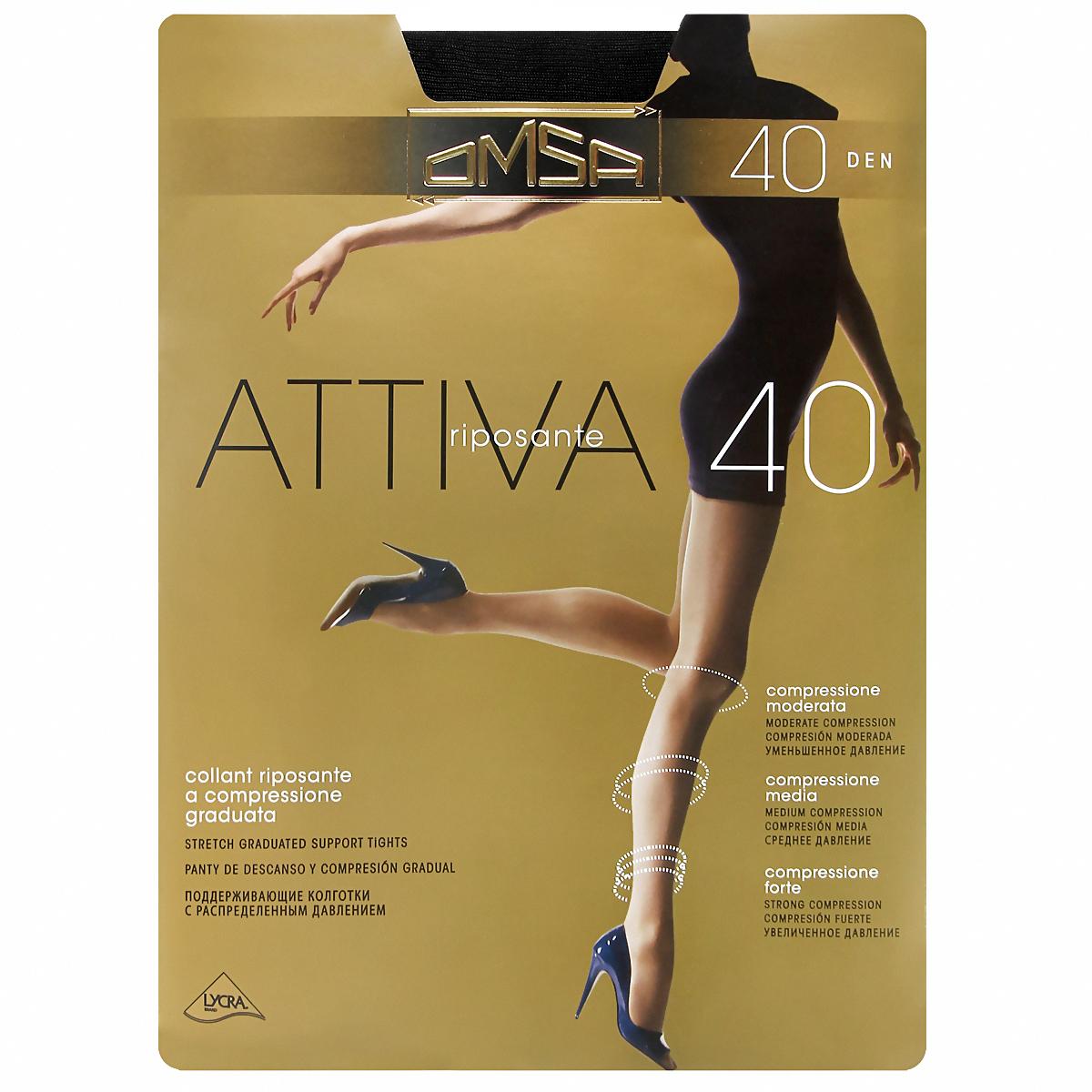 Колготки классические Omsa Attiva 40. Nero (черные). Размер 6 ремень giorgio ferretti business 40 6 gf nero 40 6 115 gf nero