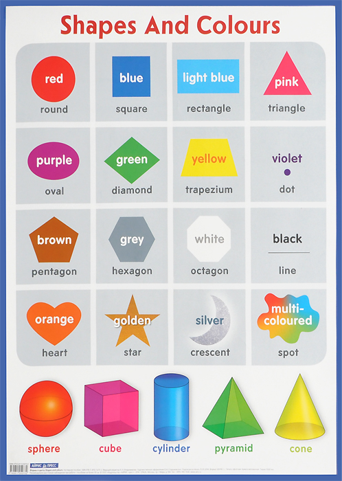 Формы и цвета / Shapes and Colours. Наглядное пособие