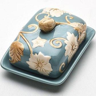 Масленка с крышкой Mayer & Boch Розы, цвет: голубой масленка mayer