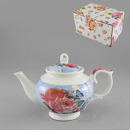Чайник Шик, цвет: белый, голубой, 450 мл528-379Чайник заварочный Шик изготовлен из высококачественного фарфора белого и голубого цветов. Он имеет изящную форму и оформлен красочным изображением роз и бабочек. Чайник сочетает в себе изысканный дизайн с максимальной функциональностью. Красочность оформления придется по вкусу и ценителям классики, и тем, кто предпочитает утонченность и изысканность. Чайник Шик упакован в картонную коробку. Характеристики:Материал:фарфор. Цвет:белый, голубой. Объем:450 мл. Размер чайника (без носика и ручки): 10 см х 9 см х 10 см. Размер упаковки: 16 см х 10,5 см х 9,5 см. Артикул: 528-379.