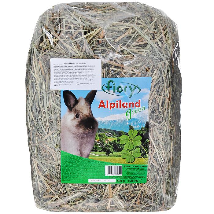 Альпийское сено для грызунов Fiory Alpiland Green, с люцерной, 500 г корм для кроликов fiory karaote 850 г