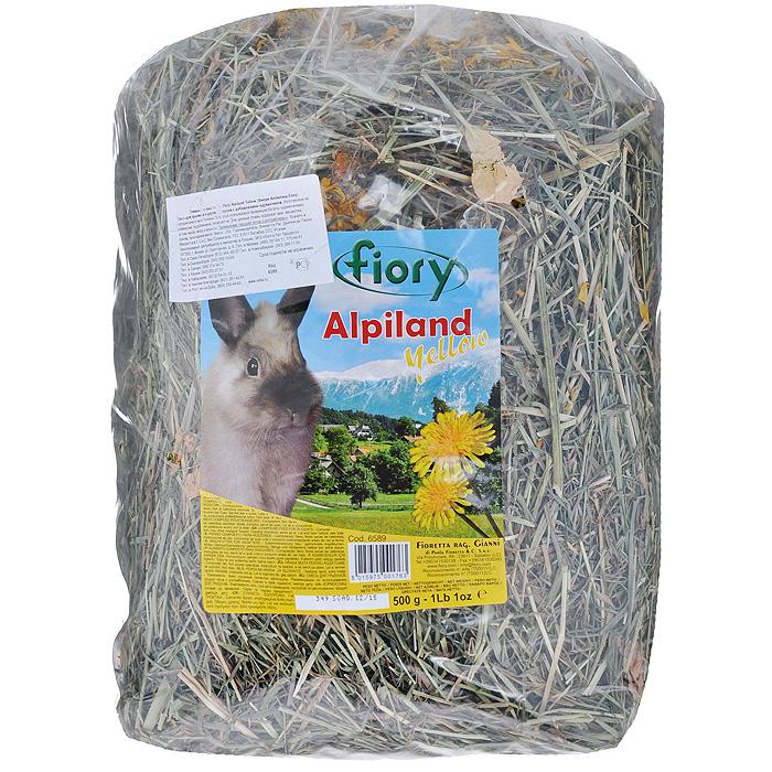 Альпийское сено для грызунов Fiory Alpiland Yellow, с одуванчиком, 500 г корм для кроликов fiory karaote 850 г