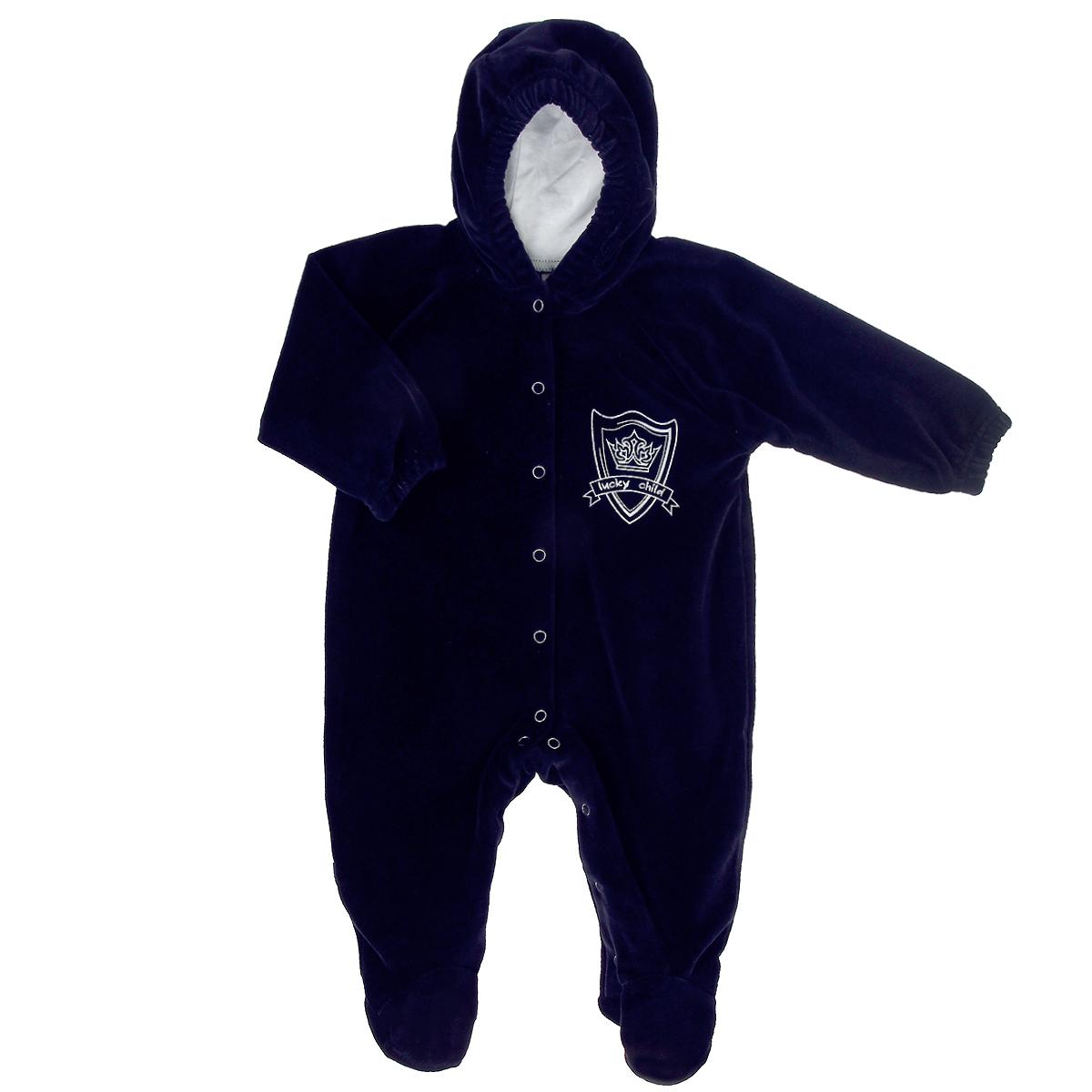 Комбинезон для мальчика Lucky Child, цвет: темно-синий. 3-21. Размер 62/68