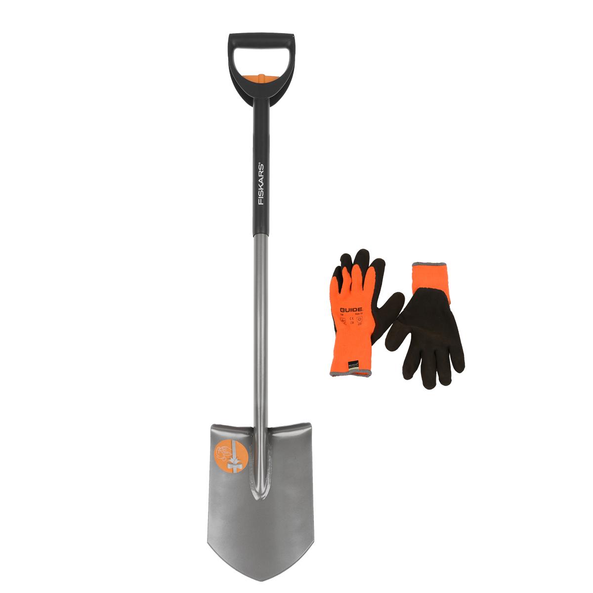 Лопата штыковая Fiskars с телескопическим черенком + ПОДАРОК: перчатки Guide131306Данная лопата предназначена для работы с каменистой и глинистой почвой. Подходит для рытья траншей.Особенности лопаты: Закругленная ручка, изготовленная из специального пластика, прослужит долгое время даже при сильном нажиме. Прочная рукоять изготовлена из нержавеющей стали. Заточенное лезвие справляется с грунтом практически любой твердости. Удобное расположение лезвия по отношению к черенку сделает работу легкой для человека с любой физической подготовкой. Черенок надежно приварен к рукоятке. Пригодится при приготовлении строительных и удобрительных смесей. Лезвие долго остается острым. Угол изгиба черенка способствует удобному захвату и не напрягает кисть руки. Регулируемая длина черенка дает возможность для работы людям разного роста.В комплекте с лопатой идут в подарок перчатки Guide размер 10. Для повышения гибкости в применении эти перчатки короче стандартной длины. Это обеспечивает удобство в сборке и выполнении более простых задач. Характеристики: Материал: металл, пластик. Длина лопаты: 105-125 см. Размер упаковки: 116 см х 20 см х 10 см.