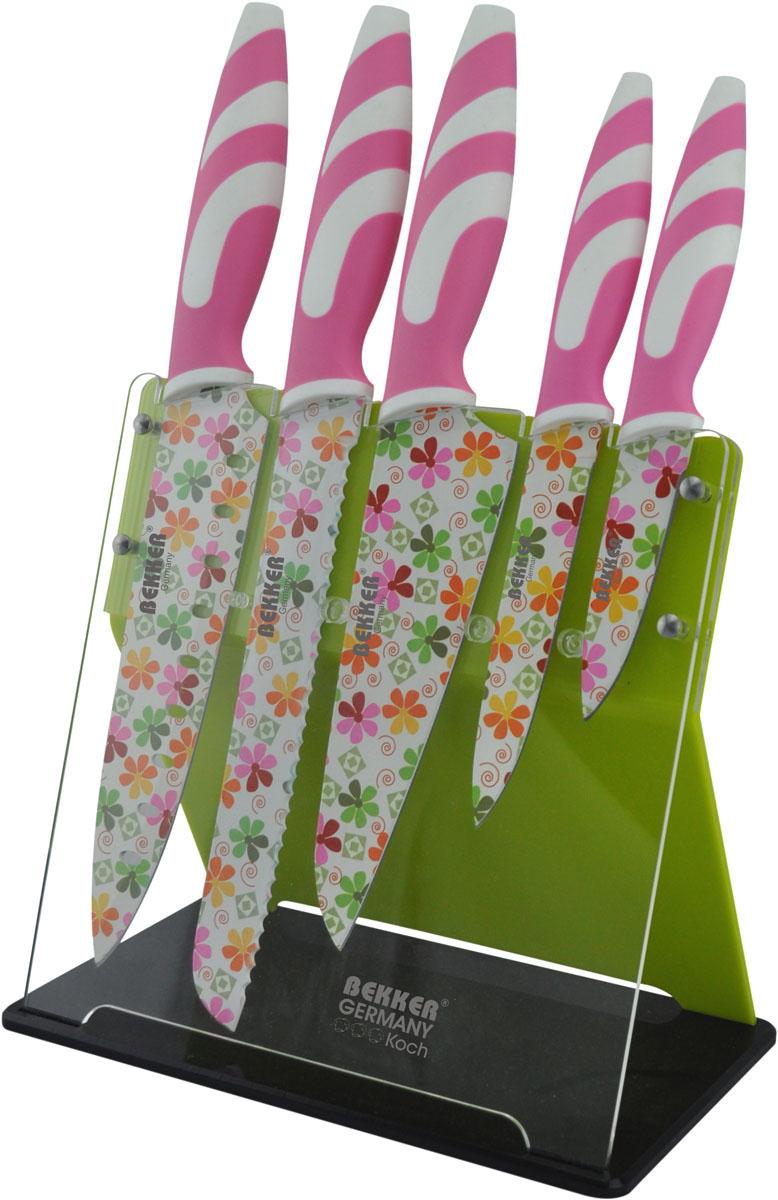 Набор ножей Bekker, цвет: белый, розовый, 6 предметов. BK-8445BK-8445Набор Bekker Koch состоит из ножа для резки хлеба, универсального и поварского ножей, ножа Сантоку, ножа для очистки и подставки.Ножи изготовлены из высококачественной нержавеющей стали и декорированы цветочным принтом. Изделия идеально подходят для ежедневной резки фруктов, овощей и мяса. Рукоятка ножей и выполнена из высококачественного пластика, а благодаря специальному дизайну вам обеспечен комфортный и легко контролируемый хват.Рукоятка не скользит в руках и делает резку удобной и безопасной.В комплекте пластиковая подставка дляхранения ножей. Общая длина ножа для резки хлеба: 33 см.Длина лезвия ножа для резки хлеба: 20 см.Общая длина ножа универсального: 23,5 см.Длина лезвия ножа универсального: 12 см.Общая длина ножа поварского: 32 см.Длина лезвия ножа поварского: 19 см.Общая длина ножа Сантоку: 30 см.Длина лезвия ножа Сантоку: 17 см.Общая длина ножа для очистки: 19 см.Длина лезвия ножа для очистки: 9 см.Размер подставки (ДхШхВ): 23 см х 12 см х 21 см.