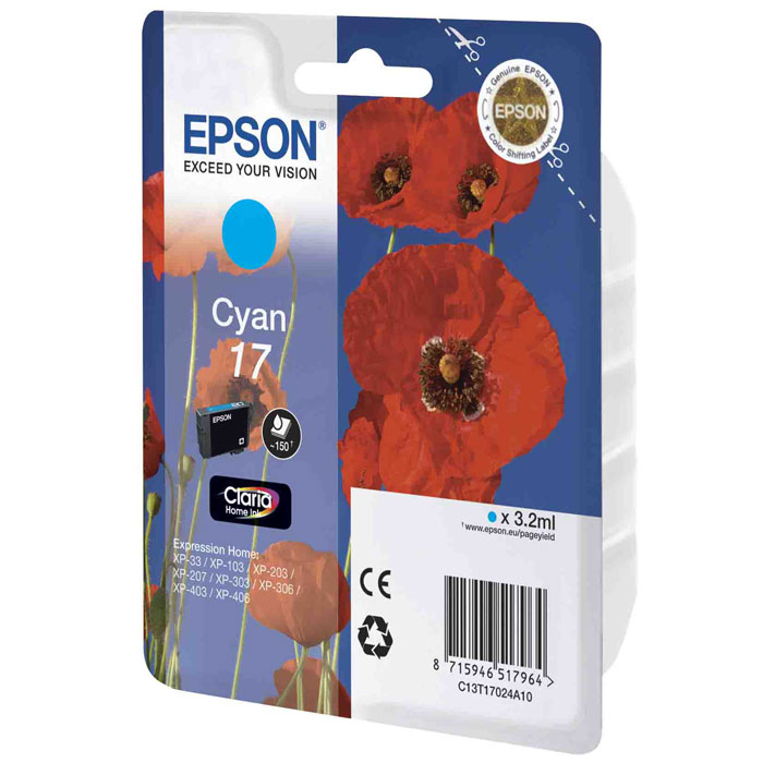 Epson 17 (C13T17024A10), Cyan картридж для XP-33/XP-103/XP-406C13T17024A10Картридж стандартной емкости Epson 17 с пигментными черными или водорастворимыми цветными чернилами для струйных МФУ Epson Expression Home. Расход измерен по стандарту ISO/IEC FCD 24711 и 24712.