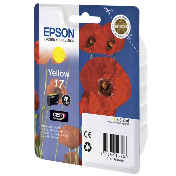 Epson 17 (C13T17044A10), Yellow картридж для XP-33/XP-103/XP-406 epson expression home xp 330