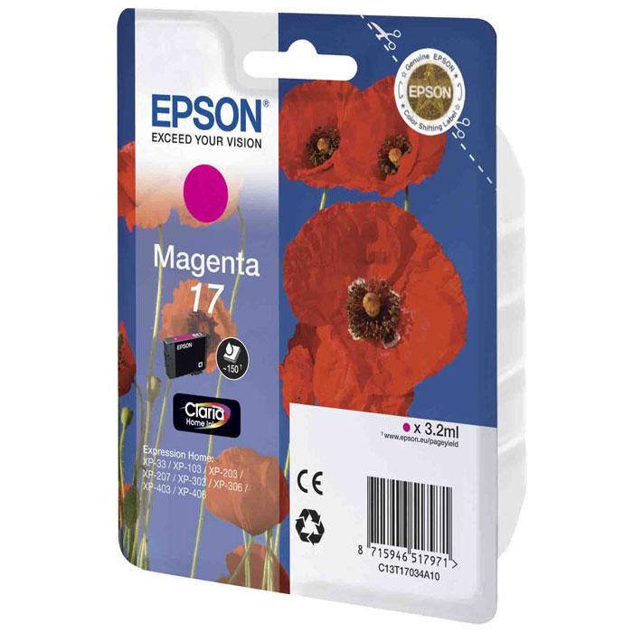 Epson 17 (C13T17034A10), Magenta картридж для XP-33/XP-103/XP-406C13T17034A10Картридж стандартной емкости Epson 17 с пигментными черными или водорастворимыми цветными чернилами для струйных МФУ Epson Expression Home. Расход измерен по стандарту ISO/IEC FCD 24711 и 24712.