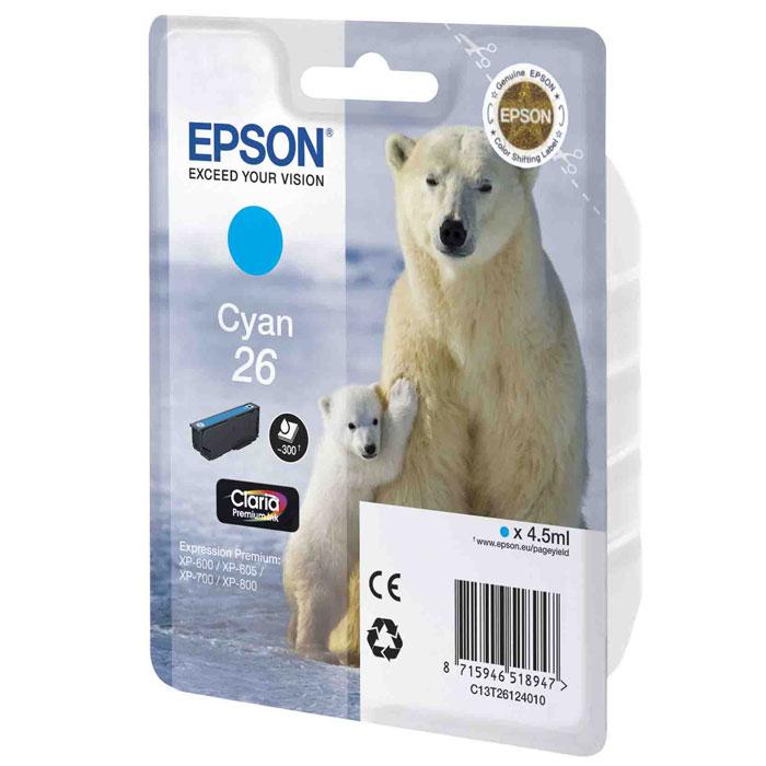 Epson 26 (C13T26124010), Cyan картридж для XP-600/XP-700/XP-800 - Расходные материалы