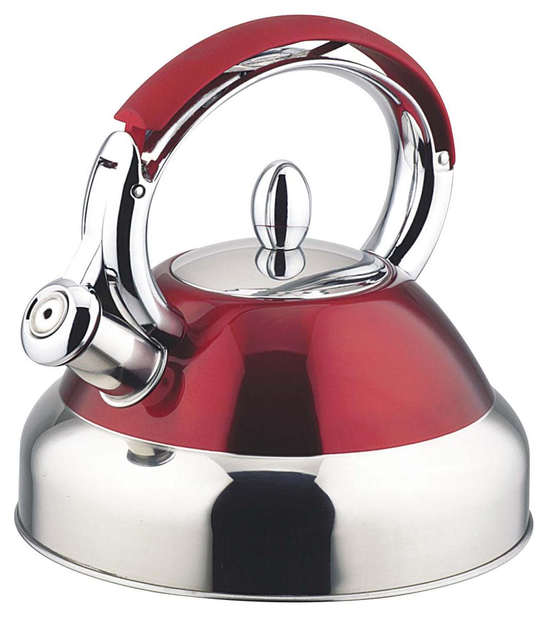 Чайник Bekker De Luxe, цвет: красный, 2,7 л. BK-S429BK-S429 красныйКорпус чайника Bekker De Luxe выполнен из высококачественной нержавеющей стали, что обеспечивает долговечность использования. Цветной корпус придает приятный внешний вид. Металлическая ручка с цветным прорезиненным покрытием делает использование чайника очень удобным и безопасным. Чайник снабжен свистком и устройством для открывания носика. Капсулированное дно равномерно распределяет тепло, что способствует быстрому нагреванию чайника.Можно мыть в посудомоечной машине.Толщина стенки: 0,5 мм.Высота чайника (без учета ручки): 11 см.