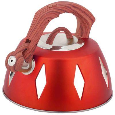 Чайник металлический Bekker De Luxe, цвет: красный, 2,8 л. BK-S455BK-S455 красныйКорпус чайника Bekker De Luxe выполнен из высококачественной нержавеющей стали, что обеспечивает долговечность использования. Цветной корпус. Пластмассовая фиксированная ручка с прорезиненным покрытием делает использование чайника очень удобным и безопасным. Чайник снабжен свистком и устройством для открывания носика. Капсулированное дно. Подходит для использования на электрических, газовых, стеклокерамических, галогеновых плитах. Можно мыть в посудомоечной машине. Характеристики: Материал:нержавеющая сталь, пластик, резина. Объем:2,8 л. Диаметр основания чайника: 22,5 см. Толщина стенки: 0,5 мм. Высота чайника (без учета ручки):11 см. Размер упаковки: 22,5 см х 22,5 см х 20 см.