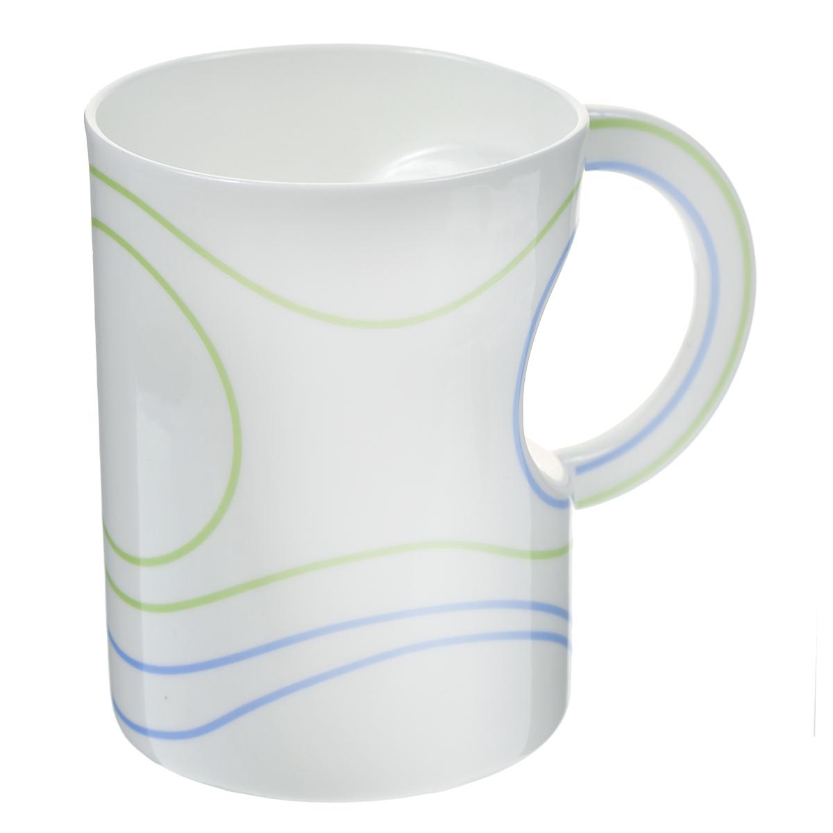 Кружка Полосы, цвет: белый, зеленый, голубой. 003404003404Стильная кружка Полосы необычной вогнутой формы с рисунком в виде полос выполнена из керамики.Такая кружка станет не только приятным, но и практичным сувениром. Характеристики:Материал:керамика. Высота кружки:11,3 см. Диаметр по верхнему краю: 8,5 см. Размер упаковки:11,5 см х 9,8 см х 12 см. Артикул: 003404.