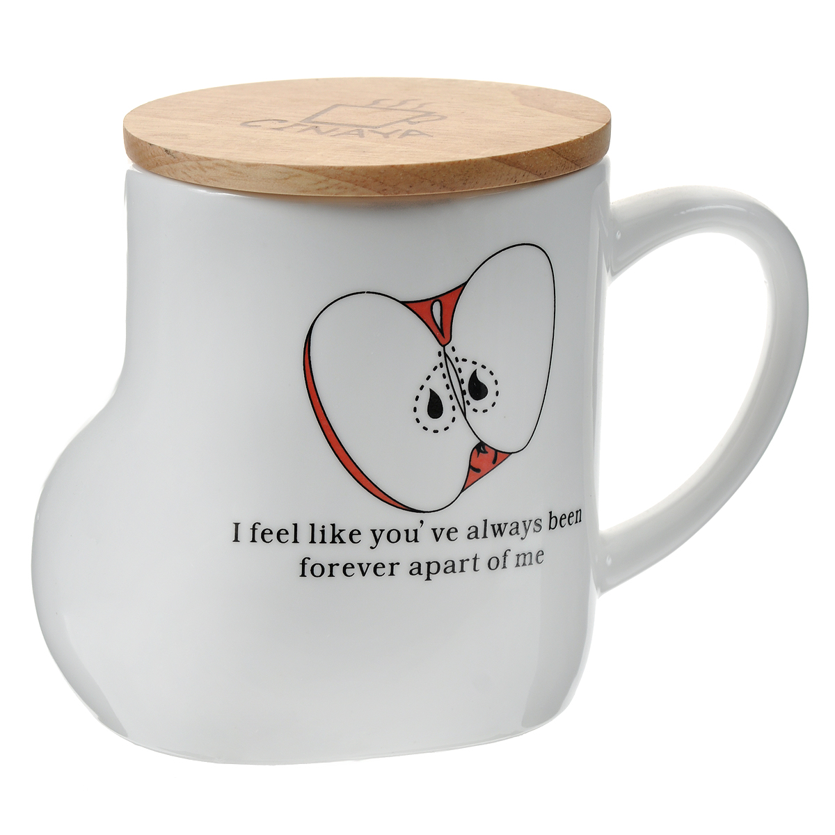"""Кружка """"Яблоко"""" необычной формы выполнена из керамики в виде валенка и оформлена изображением яблока и надписями на английском языке. Она станет отличным подарком для человека, ценящего забавные и практичные вещи. В комплекте бамбуковая крышка.   Такой подарок станет не только приятным, но и практичным сувениром, а оригинальный дизайн вызовет улыбку.  Характеристики:  Материал:  керамика, бамбук. Высота кружки (без учета крышки):  10 см. Диаметр по верхнему краю: 8 см. Размер упаковки:  13,5 см х 9 см х 11 см. Артикул: 003100."""