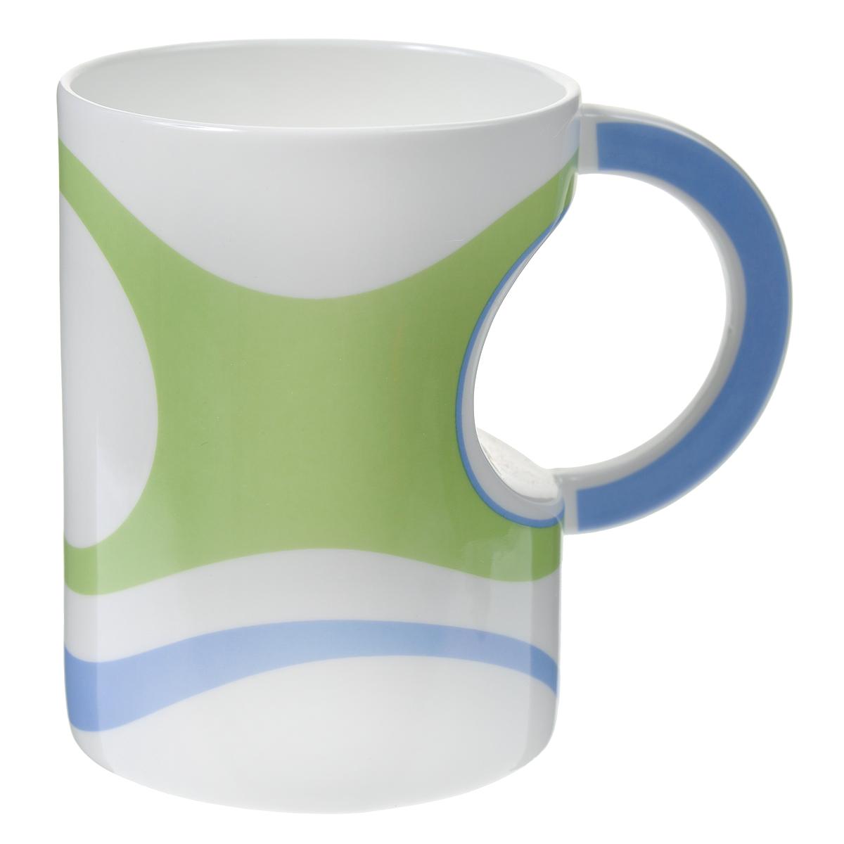 Кружка Карамба, цвет: зеленый, белый, голубой. 003405003405Стильная кружка Карамба необычной вогнутой формы с рисунком в виде полос выполнена из керамики.Такая кружка станет не только приятным, но и практичным сувениром. Характеристики:Материал:керамика. Высота кружки:11,5 см. Диаметр по верхнему краю: 8,5 см. Размер упаковки:11,5 см х 9,8 см х 12,5 см. Артикул: 003405.