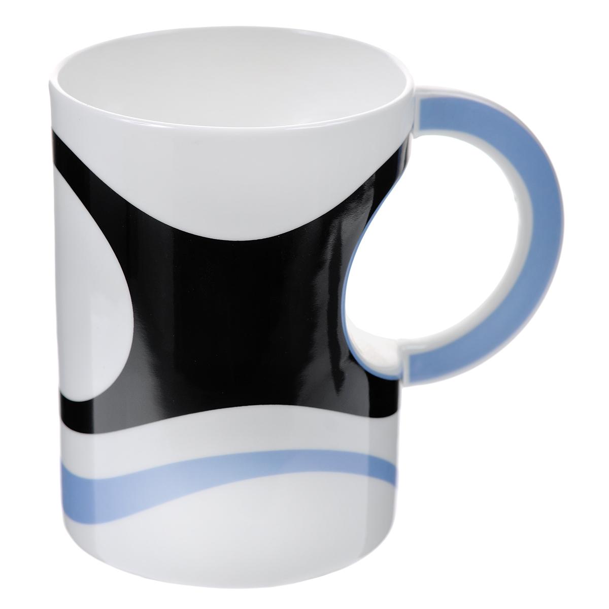 Кружка Карамба, цвет: черный, белый, голубой. 003407003407Стильная кружка Карамба необычной вогнутой формы с рисунком в виде полос выполнена из керамики.Такая кружка станет не только приятным, но и практичным сувениром. Характеристики:Материал:керамика. Высота кружки:11,5 см. Диаметр по верхнему краю: 8,5 см. Размер упаковки:11,5 см х 9,8 см х 12,5 см. Артикул: 003407.