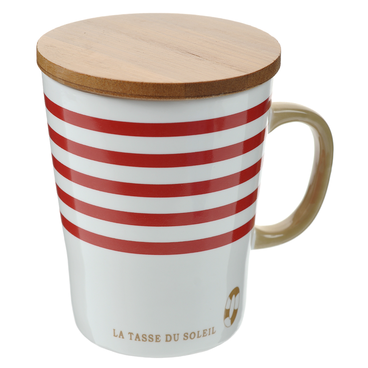 Кружка Полосы, с бамбуковой крышкой, цвет: белый, красный. 003074003074Милая кружка Полосы, выполненная из керамики, подойдет любителям морских приключений. Она станет отличным подарком для человека, ценящего забавные и практичные вещи. В комплекте бамбуковая крышка.Такая кружка станет не только приятным, но и практичным сувениром. Характеристики:Материал:керамика, бамбук. Высота кружки (без учета крышки):10 см. Диаметр по верхнему краю: 8 см. Размер упаковки:10 см х 9 см х 11 см. Артикул: 003074.