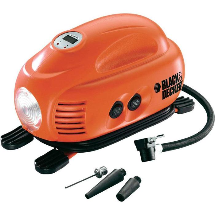 Автомобильный компрессор Black&Decker ASI200ASI200Black&Decker ASI200 - компактный автомобильный компрессор. Имеет возможность установки различного давления, снабжен мощным фонарем, позволяющим работать даже в темное время суток. Преимущества: - 1 поршень, - отсек для хранения кабеля / шланга. - цифровой манометр с возможностью предустановки необходимого давления,- раздельные 2-х позиционные выключатели компрессора и фонаря, - дисплей с кнопками установки необходимого давления, - предохранитель,- противоскользящие резиновые ножки,- 3 сменные насадки, - хранение насадок на корпусе.
