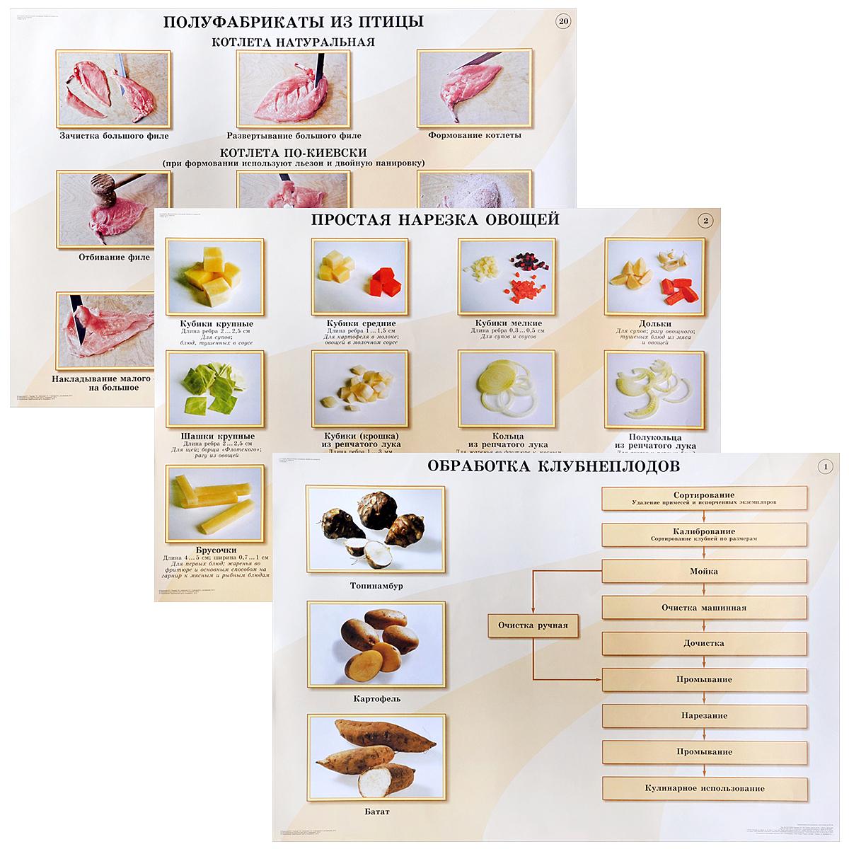 Кулинария. Механическая кулинарная обработка продуктов (комплект из 20 плакатов)