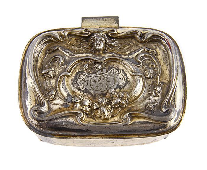 Шкатулка для украшений в стиле модерн. Металл, серебрение, гравировка. США, Victor Silver, первая половина XX века