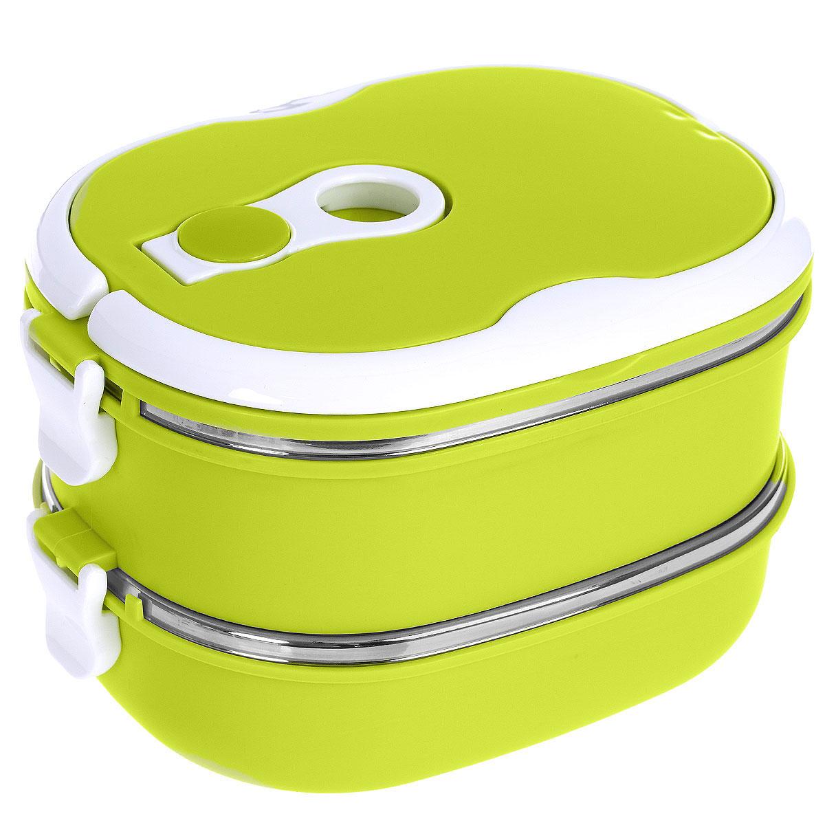 Термо ланч-бокс двойной Bradex Bento, цвет: зеленый, 1,5 лTK 0050Двойной термо ланч-бокс Bradex Bento станет незаменимой вещью для офисных работников, водителей, школьников и студентов. Благодаря двойной стенке ланч-бокс сохраняет температуру продуктов в течение 4-5 часов, поэтому вы сможете насладиться теплым обедом и вне дома. Ланч-бокс имеет абсолютно герметичную конструкцию и складные ручки для удобства переноски, также он пригоден для мытья в посудомоечной машине, идеален для пикников и путешествий. Вы можете носить в Bento обеды и завтраки, супы, закуски, фрукты, овощи и другое. Так как ланч-бокс имеет два уровня, то в нем можно хранить большее количество продуктов.Объем: 1,5 л.Размер одного контейнера: 18,5см х 14,5 см х 6 см.Общий размер ланчбокса: 18,5 см х 14,5 см х 13 см.