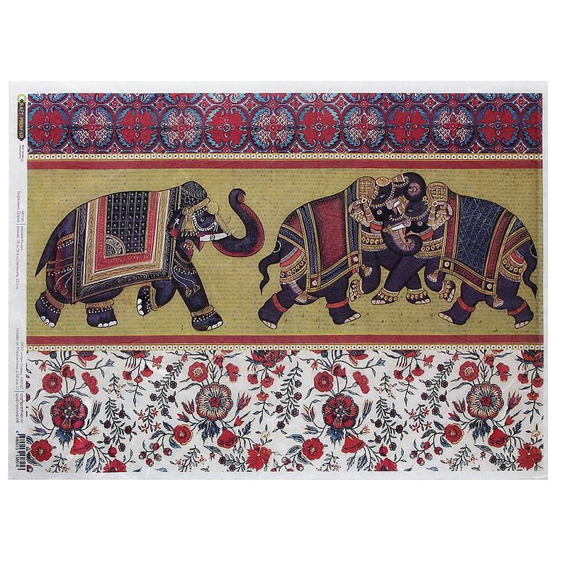 Рисовая бумага для декупажа Craft Premier Индийские слоны, 28,2 см х 38,4 смСР08516Рисовая бумага - мягкая бумага с выраженной волокнистой структурой легко повторяет форму любых предметов. При работе с этой бумагой вам не потребуется никакой дополнительной подготовки перед началом работы. Вы просто вырезаете или вырываете нужный фрагмент, и хорошо проклеиваете бумагу на поверхности изделия. Рисовая бумага для декупажа идеально подходит для стекла. В отличие от салфеток, при наклеивании декупажная бумага практически не рвется и совсем не растягивается. Клеить ее можно как на светлую, так и на темную поверхность. Для новичков в декупаже - это очень удобно и гарантируется хороший результат. Поверхность, на которую будет клеиться декупажная бумага, подготавливают точно так же, как и для наклеивания салфеток, распечаток и т.д. Мотив вырезаем точно по контуру и замачиваем в емкости с водой, обычно не больше чем на одну минуту, чтобы он полностью впитал воду. Вынимаем и промакиваем бумажным или обычным полотенцем с двух сторон. Равномерно наносим клей на оборотную сторону фрагмента, и на поверхность предмета, с которым работаем. Прикладываем мотив на поверхность и сверху промазываем кистью с клеем легкими нажатиями, стараемся избавиться от пузырьков воздуха, как бы выдавливая их. Делать это нужно от середины к краям мотива. Оставляем работу сушиться. После того, как работа высохнет, нужно покрыть ее лаком.Декупаж - техника декорирования различных предметов, основанная на присоединении рисунка, картины или орнамента (обычного вырезанного) к предмету, и, далее, покрытии полученной композиции лаком ради эффектности, сохранности и долговечности. Характеристики:Материал: рисовая бумага. Размер: 28,2 см х 38,4 см. Плотность: 25 г/м. Артикул: СР08516.
