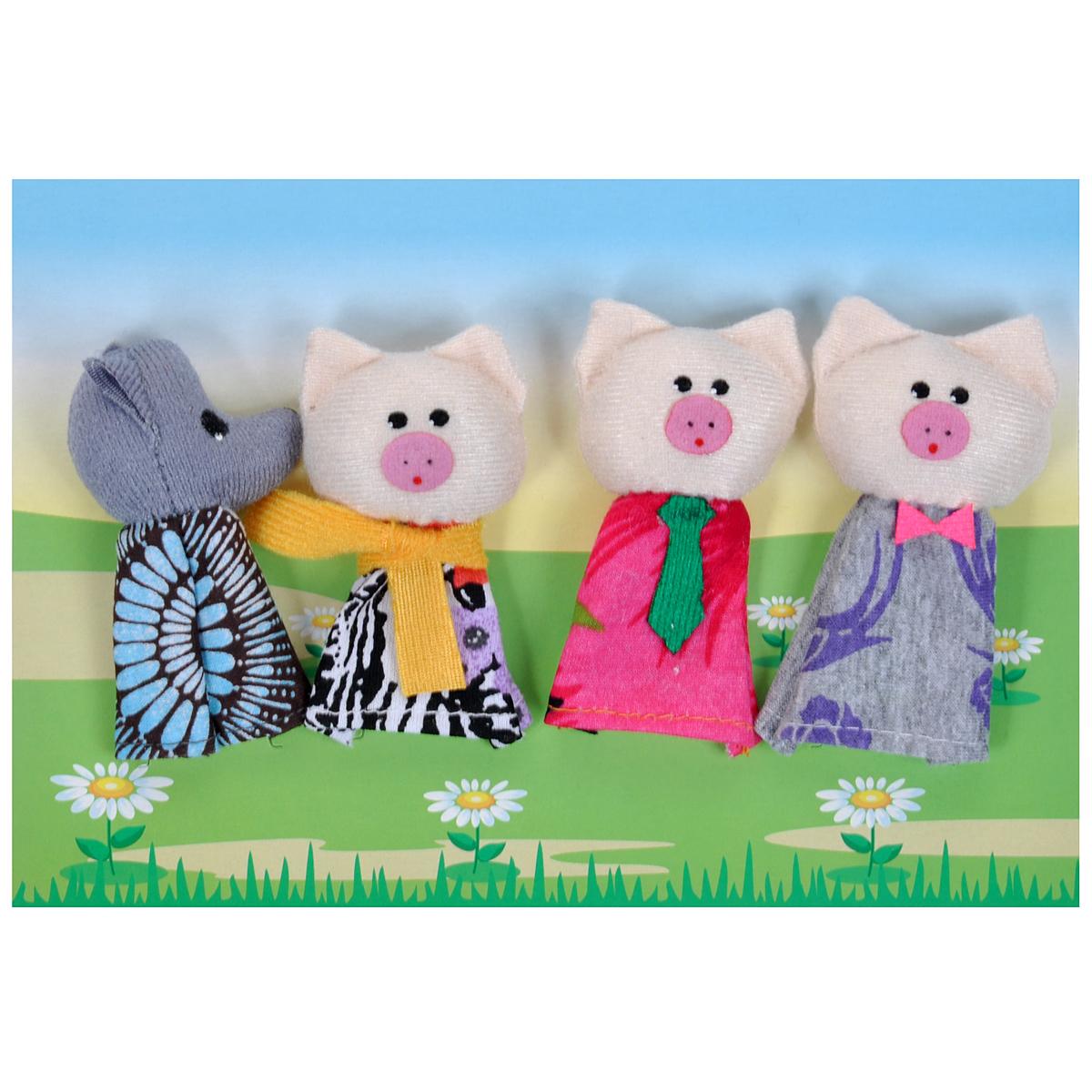 ролевые игры lilliputiens пальчиковые игрушки волк и три поросенка Пальчиковый театр Три поросенка, 4 предмета