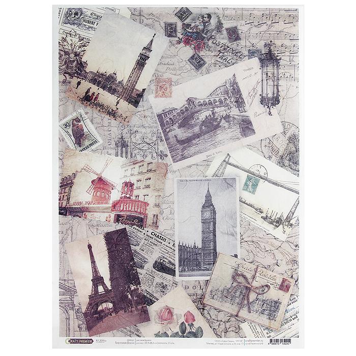 Рисовая бумага для декупажа Craft Premier Путешествие по Европе, 28,2 см х 38,4 смСР04242Рисовая бумага - мягкая бумага с выраженной волокнистой структурой легко повторяет форму любых предметов. При работе с этой бумагой вам не потребуется никакой дополнительной подготовки перед началом работы. Вы просто вырезаете или вырываете нужный фрагмент, и хорошо проклеиваете бумагу на поверхности изделия. Рисовая бумага для декупажа идеально подходит для стекла. В отличие от салфеток, при наклеивании декупажная бумага практически не рвется и совсем не растягивается. Клеить ее можно как на светлую, так и на темную поверхность. Для новичков в декупаже - это очень удобно и гарантируется хороший результат. Поверхность, на которую будет клеиться декупажная бумага, подготавливают точно так же, как и для наклеивания салфеток, распечаток и т.д. Мотив вырезаем точно по контуру и замачиваем в емкости с водой, обычно не больше чем на одну минуту, чтобы он полностью впитал воду. Вынимаем и промакиваем бумажным или обычным полотенцем с двух сторон. Равномерно наносим клей на оборотную сторону фрагмента, и на поверхность предмета, с которым работаем. Прикладываем мотив на поверхность и сверху промазываем кистью с клеем легкими нажатиями, стараемся избавиться от пузырьков воздуха, как бы выдавливая их. Делать это нужно от середины к краям мотива. Оставляем работу сушиться. После того, как работа высохнет, нужно покрыть ее лаком.Декупаж - техника декорирования различных предметов, основанная на присоединении рисунка, картины или орнамента (обычного вырезанного) к предмету, и, далее, покрытии полученной композиции лаком ради эффектности, сохранности и долговечности. Характеристики:Материал: рисовая бумага. Размер: 28,2 см х 38,4 см. Плотность: 25 г/м. Артикул: СР04242.