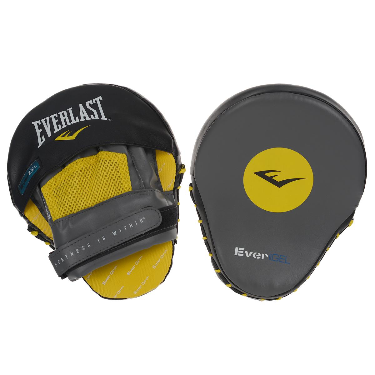 Лапы Everlast Vinyl Evergel Mantis, цвет: серый, желтый, черный4416GLUПрофессиональные боксерские лапы Everlast Vinyl Evergel Mantis предназначены для занятий боксом и единоборствами. Лапы выполнены из синтетического материала. Новый материал геля рассеивает энергию удара и защищает руки при тренировках. Изгиб лапы позволяет увеличить защиту рук и комфорт. Поглощение влаги и антимикробная подкладка сохраняет свежесть. Характеристики:Материал: полиуретан, полиэстер. Размер лапы: 19 см х 24 см х 10 см. Толщина наполнителя: 5 см. Комплектация: 1 пара. Изготовитель: Китай. Артикул: 4416GLU.