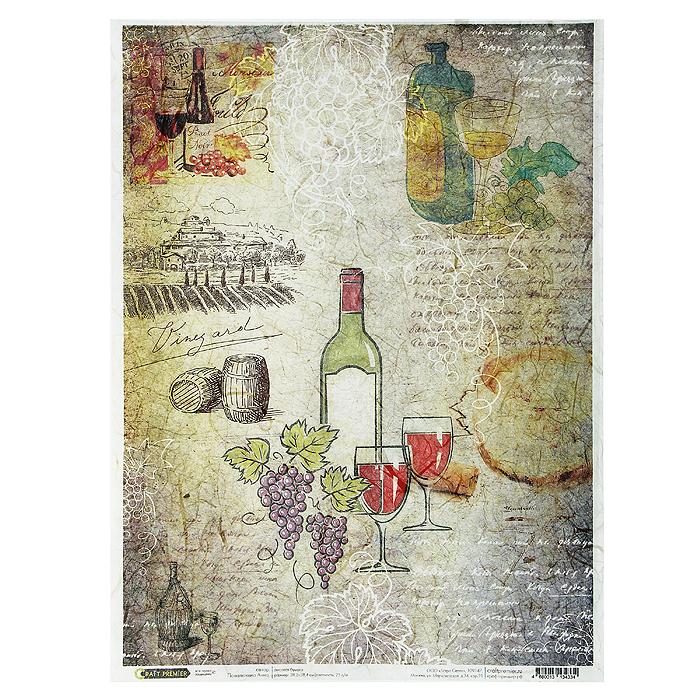 Рисовая бумага для декупажа Craft Premier Карта вин, 28,2 х 38,4 смСР04334Рисовая бумага - мягкая бумага с выраженной волокнистой структурой легко повторяет форму любых предметов. При работе с этой бумагой вам не потребуется никакой дополнительной подготовки перед началом работы. Вы просто вырезаете или вырываете нужный фрагмент, и хорошо проклеиваете бумагу на поверхности изделия. Рисовая бумага для декупажа идеально подходит для стекла. В отличие от салфеток, при наклеивании декупажная бумага практически не рвется и совсем не растягивается. Клеить ее можно как на светлую, так и на темную поверхность. Для новичков в декупаже - это очень удобно и гарантируется хороший результат. Поверхность, на которую будет клеиться декупажная бумага, подготавливают точно так же, как и для наклеивания салфеток, распечаток и т.д. Мотив вырезаем точно по контуру и замачиваем в емкости с водой, обычно не больше чем на одну минуту, чтобы он полностью впитал воду. Вынимаем и промакиваем бумажным или обычным полотенцем с двух сторон. Равномерно наносим клей на оборотную сторону фрагмента, и на поверхность предмета, с которым работаем. Прикладываем мотив на поверхность и сверху промазываем кистью с клеем легкими нажатиями, стараемся избавиться от пузырьков воздуха, как бы выдавливая их. Делать это нужно от середины к краям мотива. Оставляем работу сушиться. После того, как работа высохнет, нужно покрыть ее лаком.Декупаж - техника декорирования различных предметов, основанная на присоединении рисунка, картины или орнамента (обычного вырезанного) к предмету, и, далее, покрытии полученной композиции лаком ради эффектности, сохранности и долговечности. Характеристики:Материал: рисовая бумага. Размер: 28,2 см х 38,4 см. Плотность: 25 г/м. Артикул: СР04334.