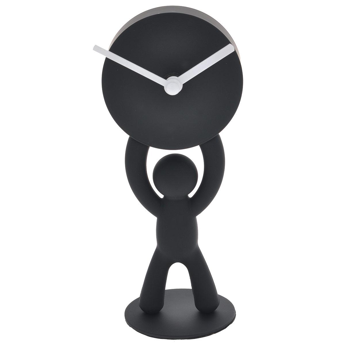 Часы настольныеBuddy, цвет: черный118510-040Настольные часы, выполненные из пластика в виде человечка, держащего в руках циферблат, прекрасно украсят интерьер вашего помещения. Циферблат часов имеет две стрелки: часовую и минутную. Оформите свой дом таким интерьерным аксессуаром или преподнесите его в качестве презента друзьям, и они оценят ваш оригинальный вкус и неординарность подарка. Характеристики:Материал: пластик, металл. Общий размер часов: 7,5 см х 21 см х 7,5 см.Диаметр циферблата: 9 см.Размер упаковки: 10,5 см х 9,5 см х 22 см. Цвет: черный. Артикул: 118510-040. Часы работают от 1 батарейки AA (не входит в комплект).