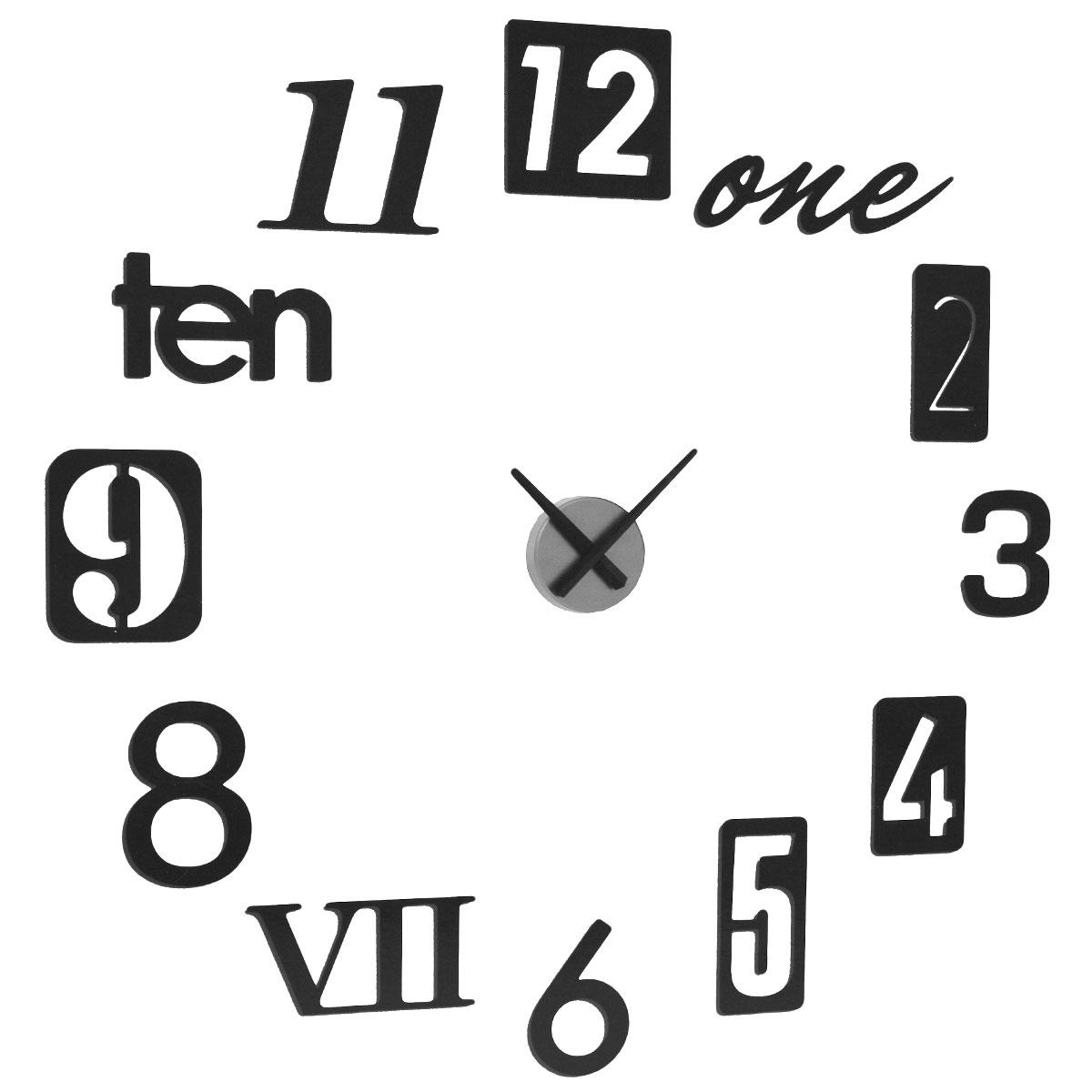 Часы настенные Umbra Numbra, цвет: черный. 118430-040118430-040Часы настенные Umbra Numbra своим дизайном подчеркнут стильность и оригинальность интерьера вашего дома. Корпус часов круглой формы выполнен из металла. Часы имеют две стрелки - часовую, минутную. В комплекте с часамиимеется 12 металлических цифр, слов, позволяющие создать аппликацию вокруг циферблата. Цифры можно располагать по стене в произвольном порядке, или в порядке, указанном в инструкции.Такие часы послужат отличным подарком для ценителя ярких и необычных вещей. Характеристики:Материал: пластик, металл. Диаметр часов: 9,5 см. Диаметр аппликации: 55 см. Размер упаковки: 32 см х 33 см х 6 см. Изготовитель: Китай. Артикул: 118430-040. Рекомендуется докупить батарейку типа АА (в комплект не входит).