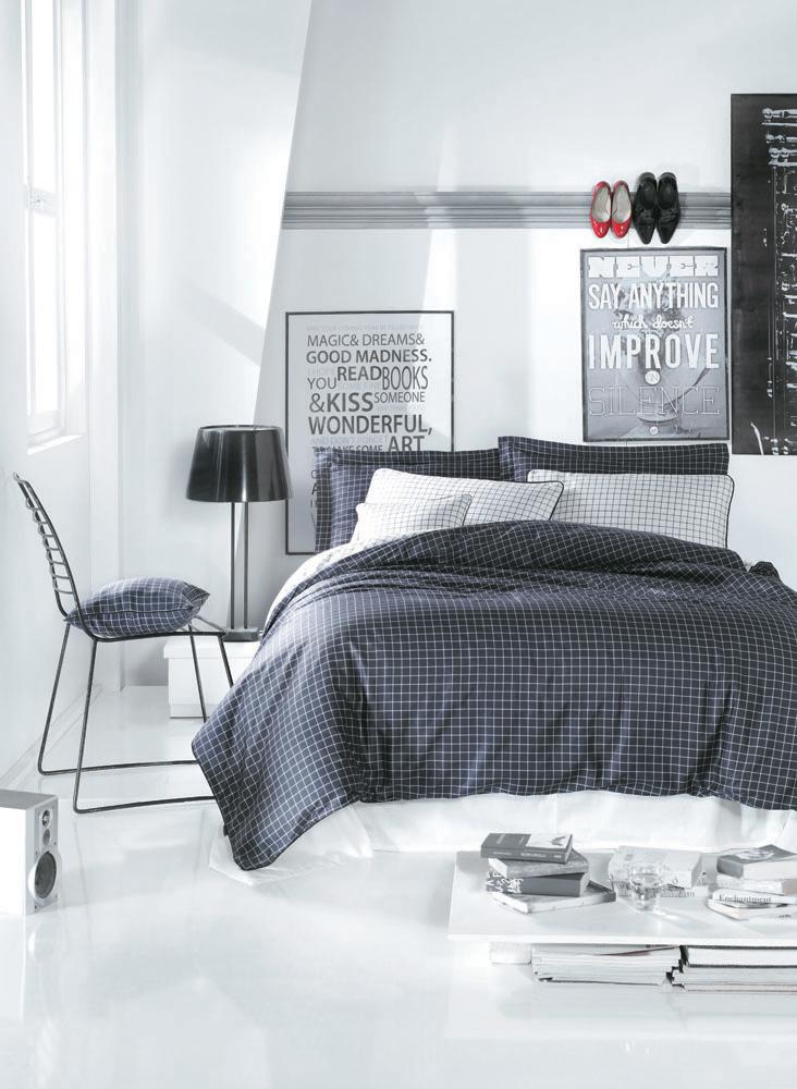 """Комплект белья """"Cosmopolit"""" (1,5 спальный КПБ, сатин, 2 наволочки 50х70), цвет: темно-серый, белый"""
