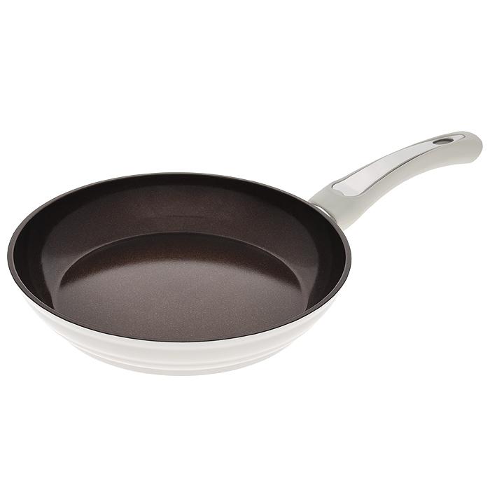 Сковорода Mayer & Boch, с керамическим покрытием, цвет: белый. Диаметр 24 см. 2247622476Сковорода Mayer & Boch изготовлена из алюминия с высококачественным антипригарным керамическим покрытием шоколадного цвета с золотистым блеском. Керамика не содержит вредных примесей ПФОК, поэтому является экологически чистой, безопасной для здоровья. Кроме того, с таким покрытием пища не пригорает и не прилипает к стенкам, поэтому можно готовить с минимальным добавлением масла и жиров. Гладкая поверхность легко чистится - ее можно мыть в воде руками или вытирать полотенцем. Внешнее покрытие - термостойкий лак белого цвета. Эргономичная ручка специального дизайна имеет прорезиненную поверхность с эффектом Soft-Touch, что делает использование удобным и комфортным. Сковорода подходит для газовых, электрических, стеклокерамических, галогенных плит. Нельзя использовать на индукционных плитах, в духовом шкафу и СВЧ-печи. Можно мыть в посудомоечной машине. Характеристики: Материал: алюминий, бакелит. Цвет: белый, черный. Внутренний диаметр: 24 см. Высота стенки: 5 см. Толщина стенки: 0,45 см. Толщина дна: 0,48 см. Длина ручки: 19 см. Диаметр дна: 20 см. Артикул: 22476.