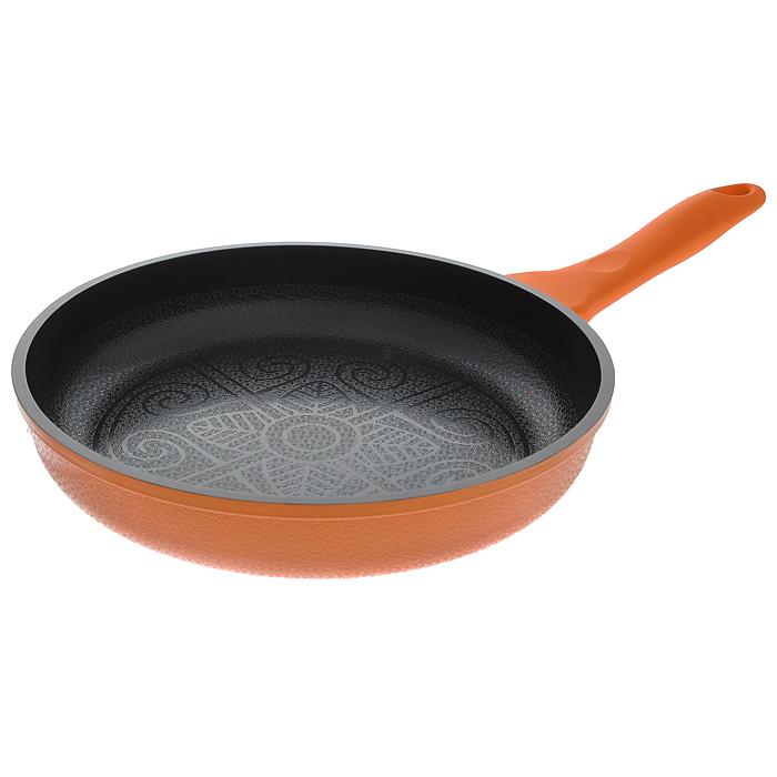 Сковорода Mayer & Boch, с керамическим покрытием, цвет: оранжевый. Диаметр 24 см. 2073420734 оранжевыйСковорода Mayer & Boch изготовлена из алюминия с высококачественным антипригарным керамическим покрытием черного цвета. Керамика не содержит вредных примесей ПФОК, поэтому является экологически чистой, безопасной для здоровья. Кроме того, с таким покрытием пища не пригорает и не прилипает к стенкам, поэтому можно готовить с минимальным добавлением масла и жиров. Рельефная поверхность легко чистится - ее можно мыть в воде руками или вытирать полотенцем. Внешнее жаростойкое покрытие - оранжевого цвета. Внутренняя и внешняя поверхность сковороды покрыта цветочным рельефом. Эргономичная ручка специального дизайна выполнена из силикона с эффектом Soft-Touch, удобна в эксплуатации. Сковорода подходит для использования на газовых, электрических, стеклокерамических, галогенных, индукционных плитах. Нельзя использовать в духовом шкафу и СВЧ-печи. Можно мыть в посудомоечной машине. Характеристики: Материал: алюминий, бакелит. Цвет: оранжевый, черный. Внутренний диаметр: 24 см. Высота стенки: 5 см. Толщина стенки: 0,3 см. Толщина дна: 0,4 см. Длина ручки: 20 см. Диаметр дна: 17,5 см. Артикул: 20734.