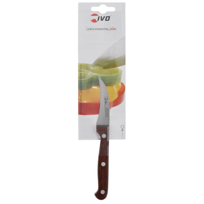 Нож для чистки Ivo, длина лезвия 6 см12027Нож для чистки Ivo изготовлен из нержавеющей стали. Рукоятка, выполненная из пластика с оформлением под дерево, удобно лежит в руке, не скользит и делает резку удобной и безопасной. Изогнутое лезвие прекрасно подходит для очистки от кожуры овощей и фруктов. Практичный и функциональный нож Ivo займет достойное место среди аксессуаров на вашей кухне. Характеристики:Материал: нержавеющая сталь, пластик.Длина лезвия: 6 см.Ширина лезвия: 1,3 см.Общая длина ножа: 18 см.Размер упаковки: 30 см х 9 см х 1,5 см.Артикул: 12027.