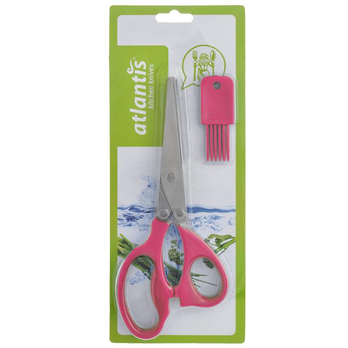 Ножницы кухонные  Atlantis , для шинковки зелени, цвет: красный
