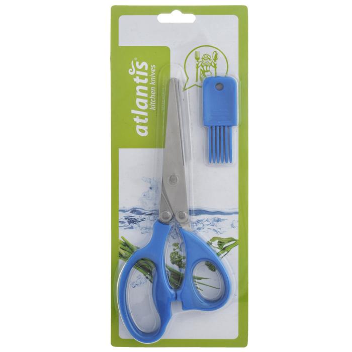 Ножницы кухонные  Atlantis , для шинковки зелени, цвет: синий