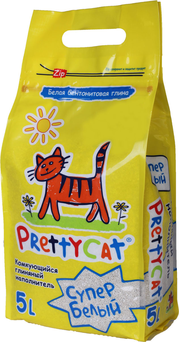 Наполнитель для кошачьих туалетов PrettyCat Супер белый, комкующийся, 5 л. 620024 наполнитель для кошачьих туалетов кошкин секрет древесный 2 5 кг