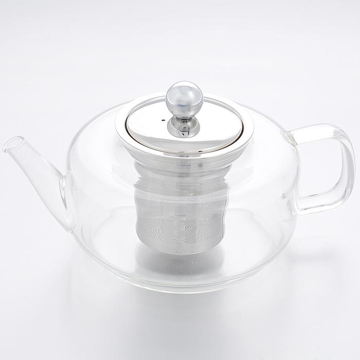 Чайник заварочный Mayer & Boch, 0,45 л. 2076920769Заварочный чайник Mayer & Boch изготовлен из термостойкого боросиликатного стекла - прочного износостойкого материала. Чайник оснащен металлическим фильтром и крышкой.Простой и удобный чайник поможет вам приготовить крепкий, ароматный чай. Дизайн изделия создает гипнотическую атмосферу через сочетание полупрозрачного цвета и хромированных элементов.Можно мыть в посудомоечной машине. Не использовать в микроволновой печи.Диаметр по верхнему краю: 7 см.Высота (без учета крышки): 8 см.Высота фильтра: 7 см.